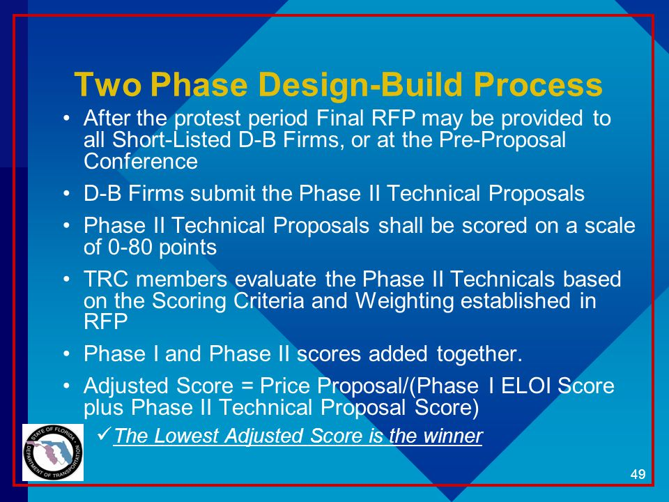 Two Phase Design-Build Process After the protest period Final RFP may be provided to all Short-Listed D-B Firms, or at the Pre-Proposal Conference D-B Firms submit the Phase II Technical Proposals Phase II Technical Proposals shall be scored on a scale of 0-80 points TRC members evaluate the Phase II Technicals based on the Scoring Criteria and Weighting established in RFP Phase I and Phase II scores added together.