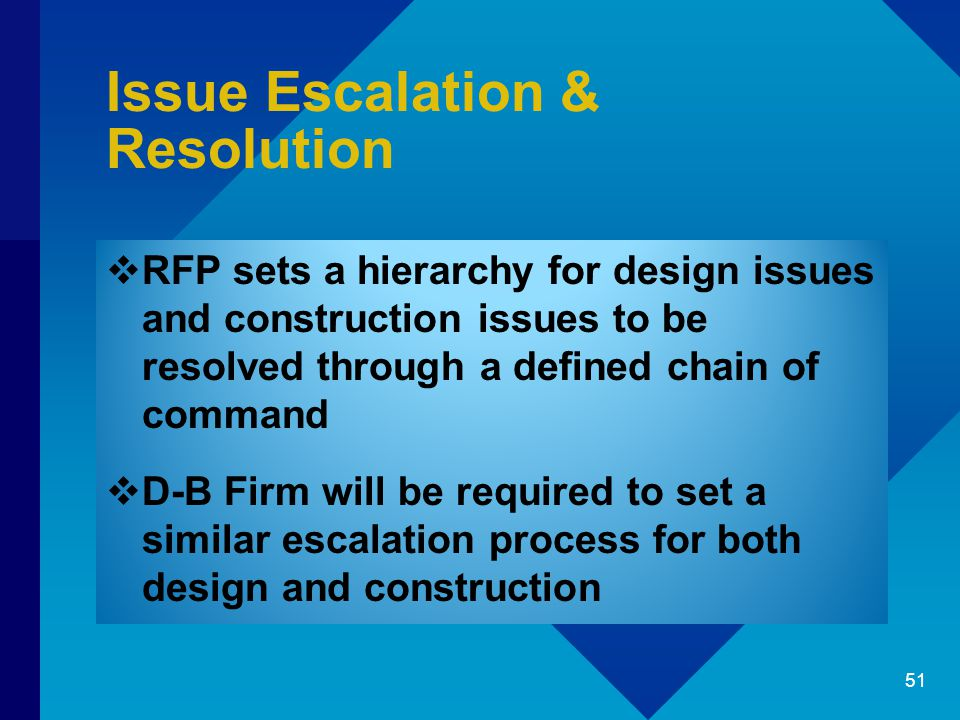 Issue Escalation & Resolution  RFP sets a hierarchy for design issues and construction issues to be resolved through a defined chain of command  D-B Firm will be required to set a similar escalation process for both design and construction 51