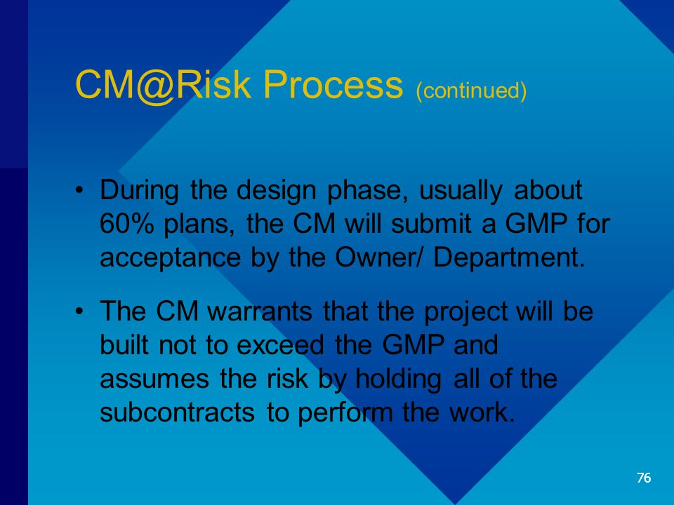 CM@Risk Process (continued) During the design phase, usually about 60% plans, the CM will submit a GMP for acceptance by the Owner/ Department.