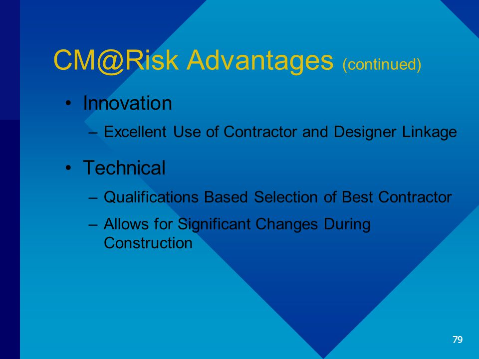 CM@Risk Advantages (continued) Innovation –Excellent Use of Contractor and Designer Linkage Technical –Qualifications Based Selection of Best Contract