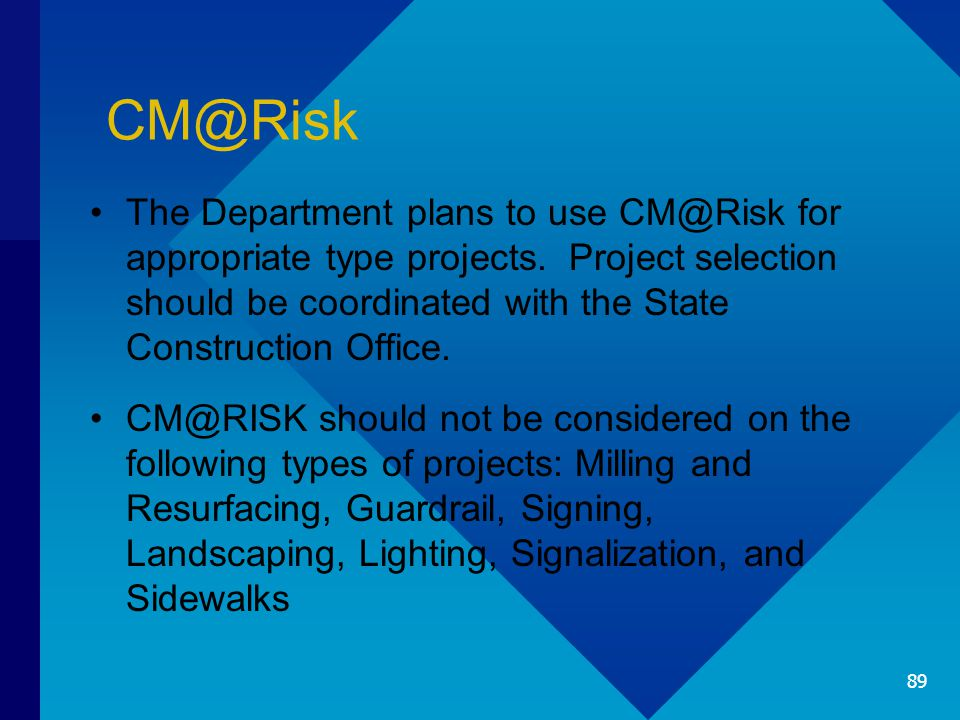 CM@Risk The Department plans to use CM@Risk for appropriate type projects.
