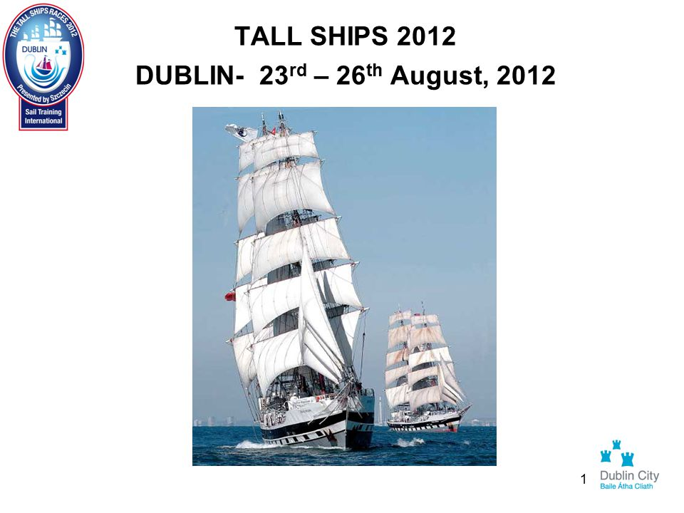 Tall Ships Project - Progress to Date PR/Marketing/Tourism - Social Programme Social Programme – STI – Race Organisers Captain's Dinner Crew Parade Crew Prize Giving Crew Party Final assessment of venues underway 22
