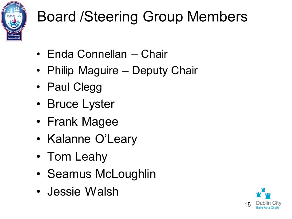 Board /Steering Group Members Enda Connellan – Chair Philip Maguire – Deputy Chair Paul Clegg Bruce Lyster Frank Magee Kalanne O'Leary Tom Leahy Seamus McLoughlin Jessie Walsh 15