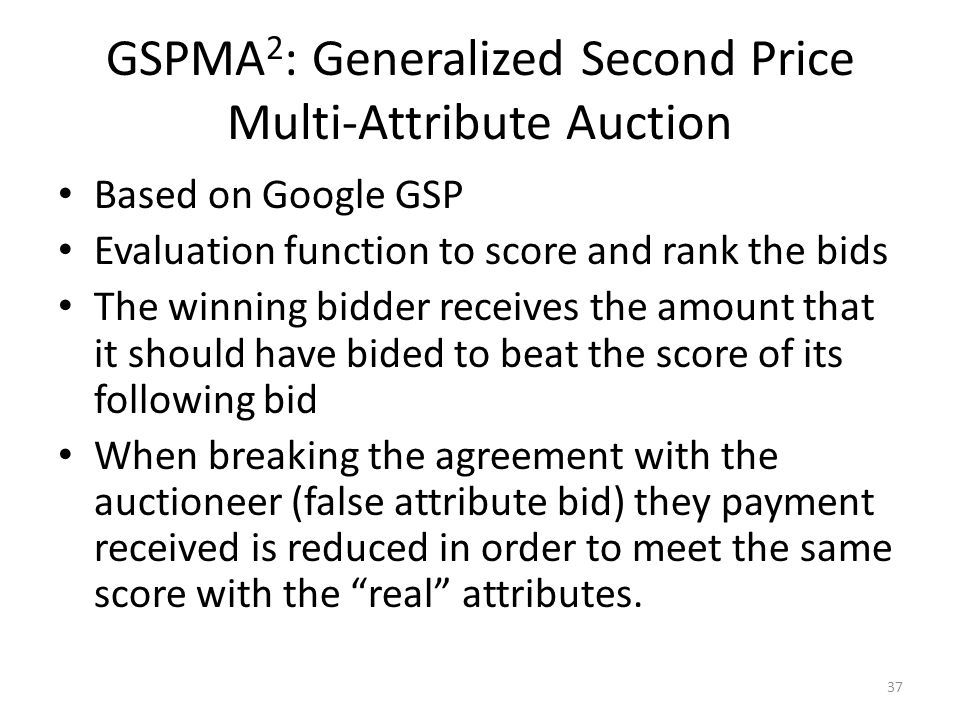 GSPMA 2 : Generalized Second Price Multi-Attribute Auction Based on Google GSP Evaluation function to score and rank the bids The winning bidder recei