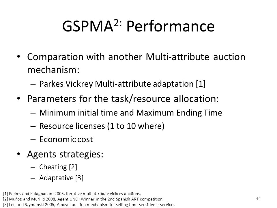 GSPMA 2: Performance Comparation with another Multi-attribute auction mechanism: – Parkes Vickrey Multi-attribute adaptation [1] Parameters for the ta