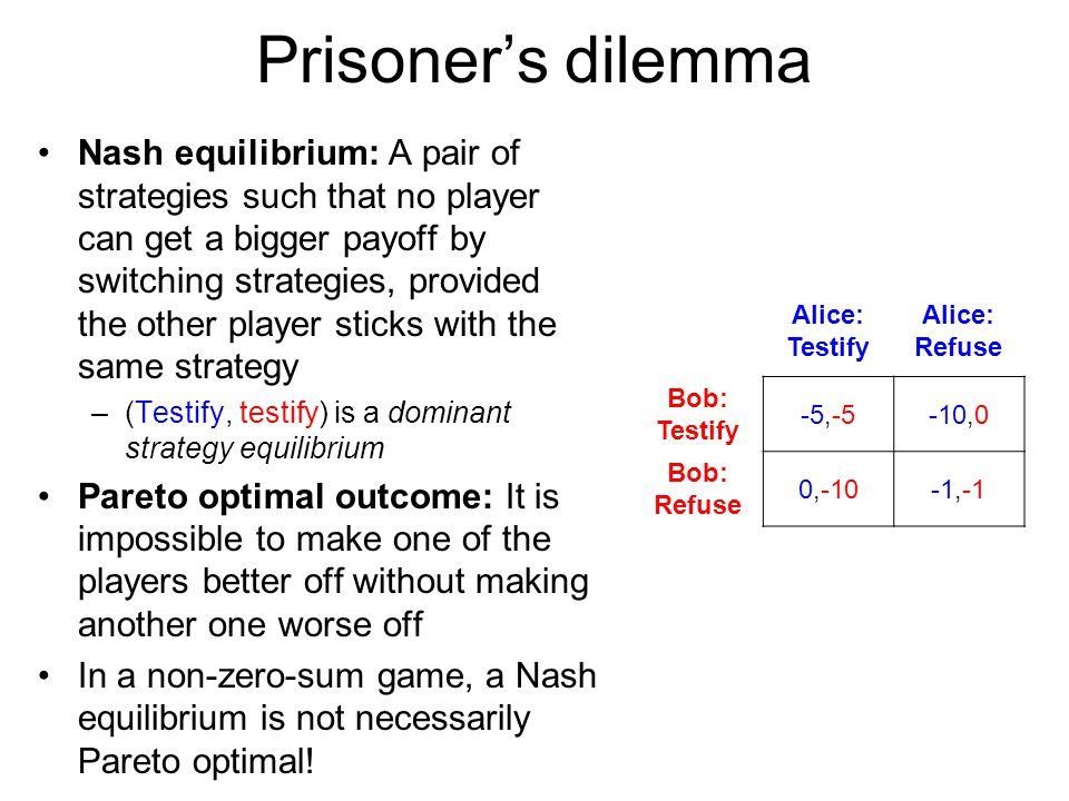 Prisoner's dilemma Nash equilibrium: A pair of strategies such that no player can get a bigger payoff by switching strategies, provided the other play