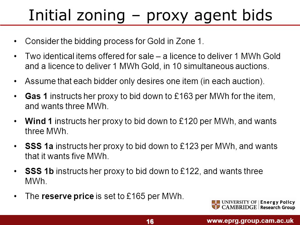 www.eprg.group.cam.ac.uk 16 Consider the bidding process for Gold in Zone 1.