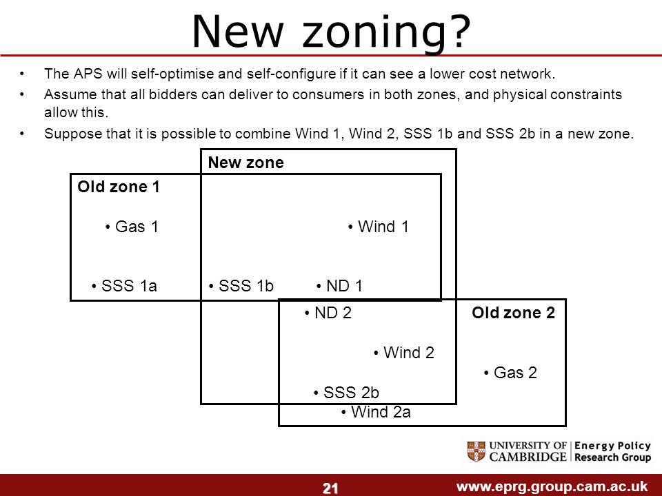 www.eprg.group.cam.ac.uk 21 New zoning.