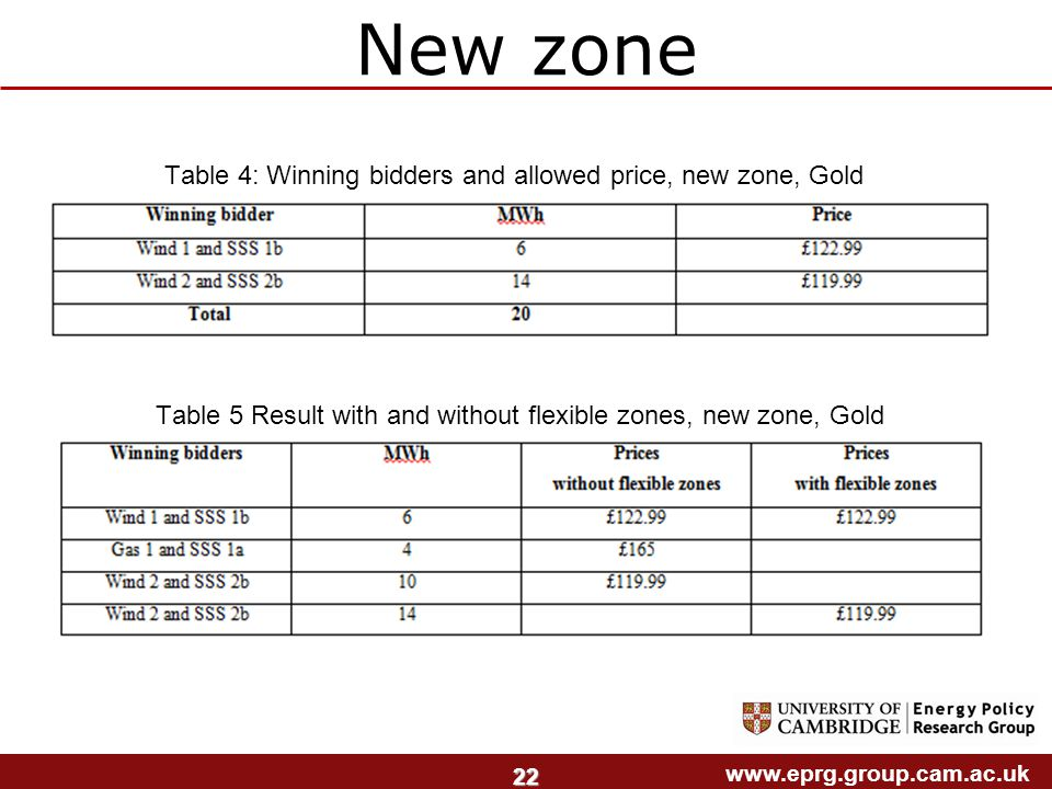 www.eprg.group.cam.ac.uk 22 New zone Table 4: Winning bidders and allowed price, new zone, Gold Table 5 Result with and without flexible zones, new zone, Gold