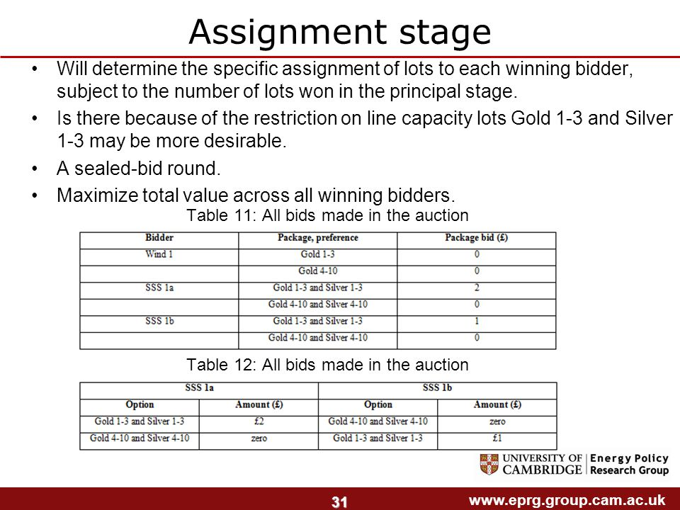 www.eprg.group.cam.ac.uk 31 Assignment stage Will determine the specific assignment of lots to each winning bidder, subject to the number of lots won in the principal stage.