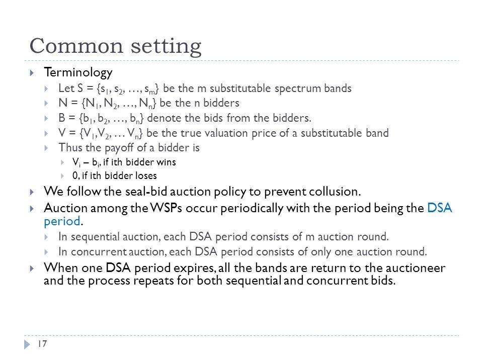 Common setting 17  Terminology  Let S = {s 1, s 2, …, s m } be the m substitutable spectrum bands  N = {N 1, N 2, …, N n } be the n bidders  B = {b 1, b 2, …, b n } denote the bids from the bidders.