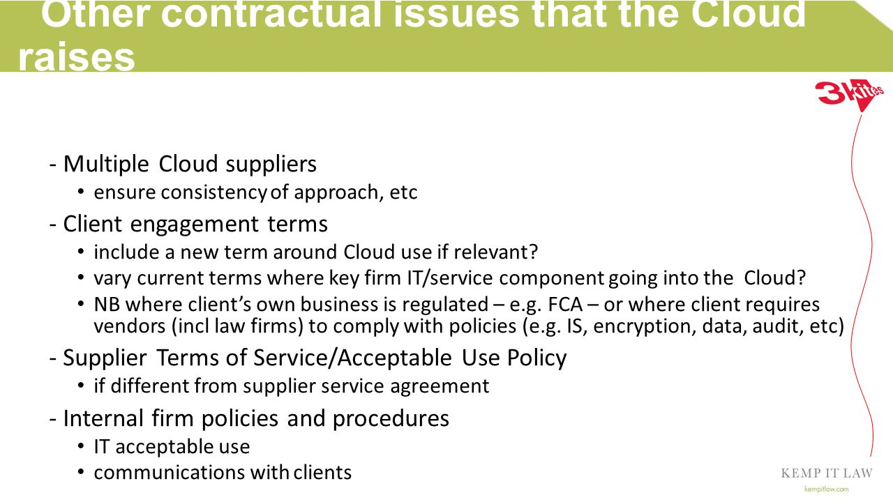 Law Firm Cloud resources & materials The Law Society: Cloud computing (April 2014)Cloud computing SRA: Spiders in the web: the risk of online crime to legal business (Mar 2014)Spiders in the web: the risk of online crime to legal business SRA: Silver Linings: cloud computing, law firms and risk (Nov 2013)Silver Linings: cloud computing, law firms and risk ICO: Guidance on the use of cloud computing (Oct 2012)Guidance on the use of cloud computing NIST (US): Cloud computing – features, benefits, risks & recommendations for secure, efficient implementations (June 2012)Cloud computing – features, benefits, risks & recommendations for secure, efficient implementations The Law Society: Data protection, Information security, Business continuity (Oct 2011)Data protectionInformation securityBusiness continuity