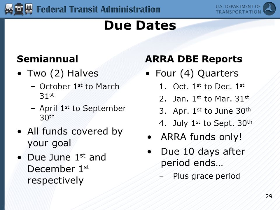 Due Dates Semiannual Two (2) Halves –October 1 st to March 31 st –April 1 st to September 30 th All funds covered by your goal Due June 1 st and December 1 st respectively ARRA DBE Reports Four (4) Quarters 1.Oct.