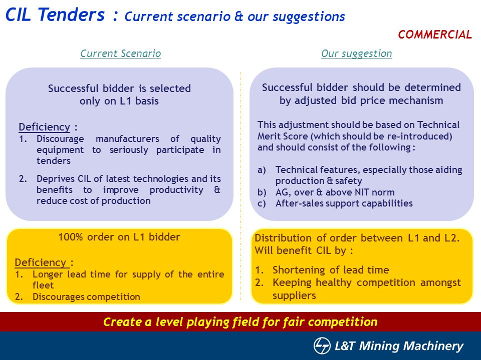 15 CIL Tenders : Current scenario & our suggestions COMMERCIAL Successful bidder is selected only on L1 basis Deficiency : 1.Discourage manufacturers of quality equipment to seriously participate in tenders 2.Deprives CIL of latest technologies and its benefits to improve productivity & reduce cost of production Current ScenarioOur suggestion Successful bidder should be determined by adjusted bid price mechanism This adjustment should be based on Technical Merit Score (which should be re-introduced) and should consist of the following : a)Technical features, especially those aiding production & safety b)AG, over & above NIT norm c)After-sales support capabilities 100% order on L1 bidder Deficiency : 1.Longer lead time for supply of the entire fleet 2.Discourages competition Distribution of order between L1 and L2.