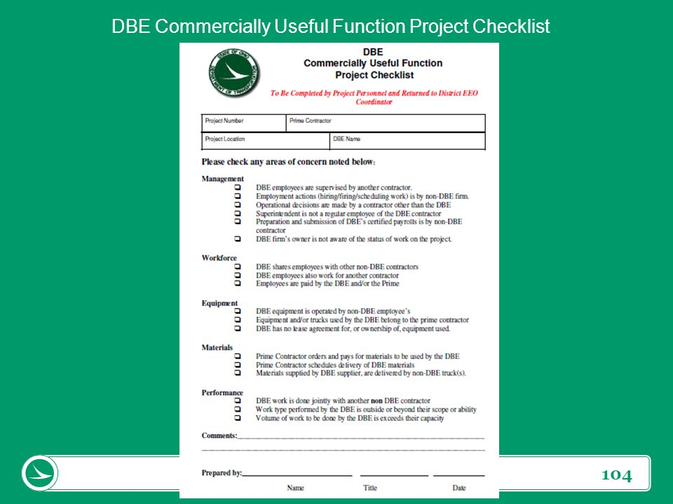 104 DBE Commercially Useful Function Project Checklist