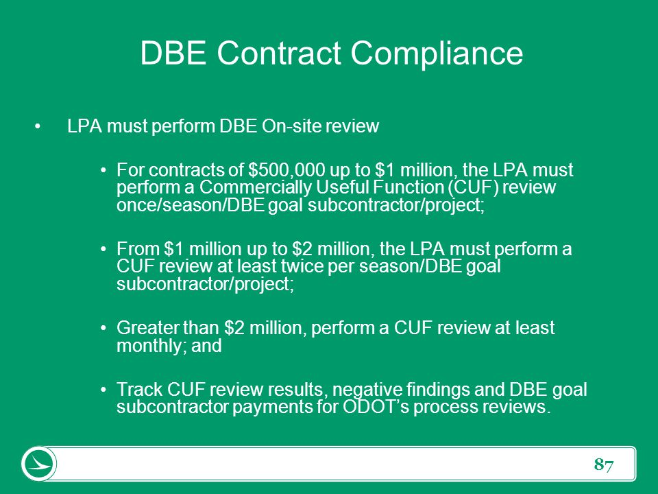 87 DBE Contract Compliance LPA must perform DBE On-site review For contracts of $500,000 up to $1 million, the LPA must perform a Commercially Useful