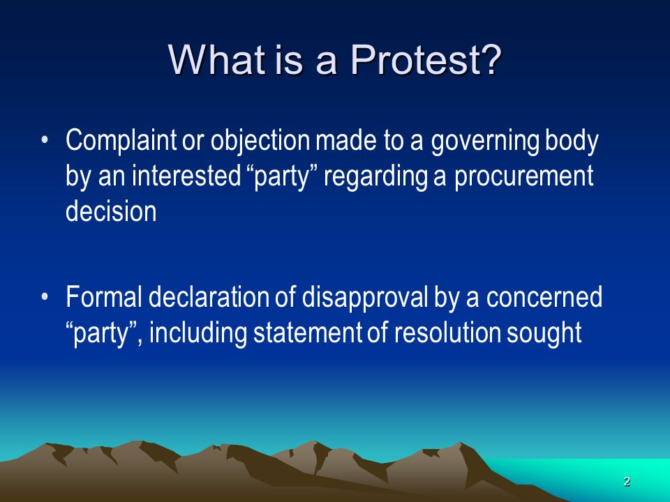 12 The Psychology of Protests Dealing With Elected Officials –Gain allies and support before hearing –Don't go in cold to meeting or hearing –Don't let your board be surprised or blind- sided by a protesting vendor –Be prepared to present your side