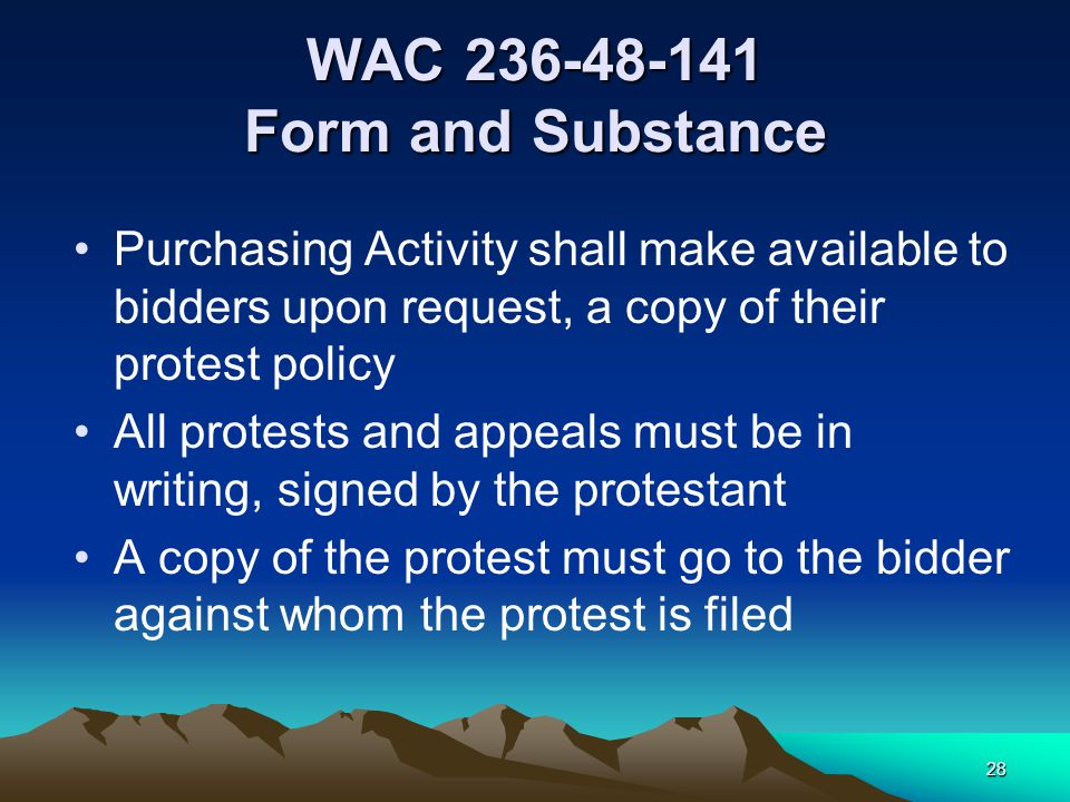 27 Protest of Solicitation Specifications - Oregon Identification of request for change or protest. Envelopes containing requests for change or protes