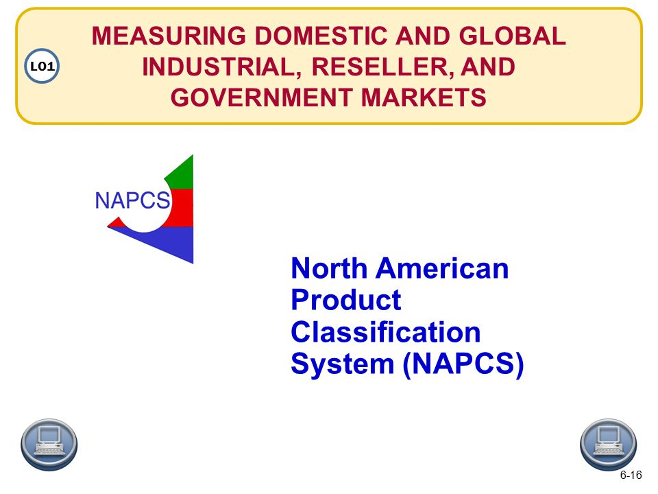 MEASURING DOMESTIC AND GLOBAL INDUSTRIAL, RESELLER, AND GOVERNMENT MARKETS LO1 North American Product Classification System (NAPCS) 6-16
