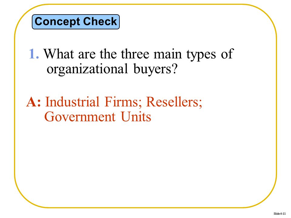 Slide 6-11 Concept Check 1. What are the three main types of organizational buyers? A: Industrial Firms; Resellers; Government Units
