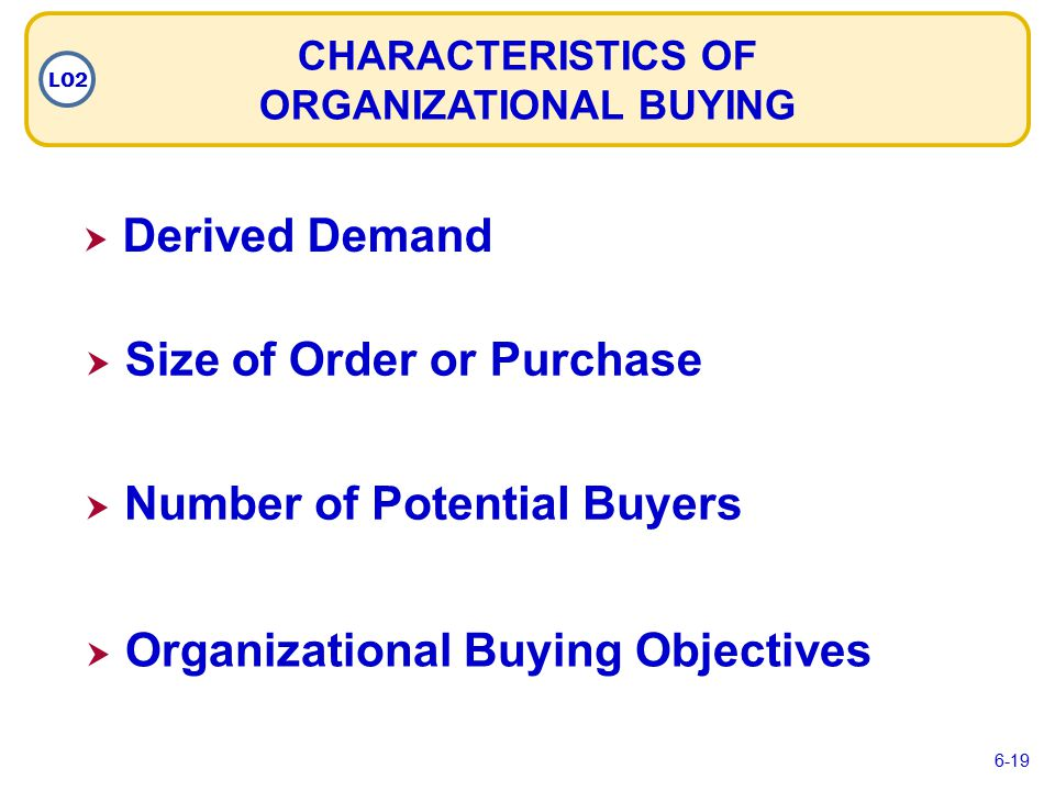  Derived Demand Derived Demand  Size of Order or Purchase Size of Order or Purchase  Number of Potential Buyers Number of Potential Buyers  Organizational Buying Objectives Organizational Buying Objectives CHARACTERISTICS OF ORGANIZATIONAL BUYING LO2 6-19
