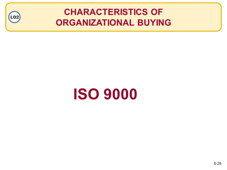 CHARACTERISTICS OF ORGANIZATIONAL BUYING LO2 ISO 9000 6-28