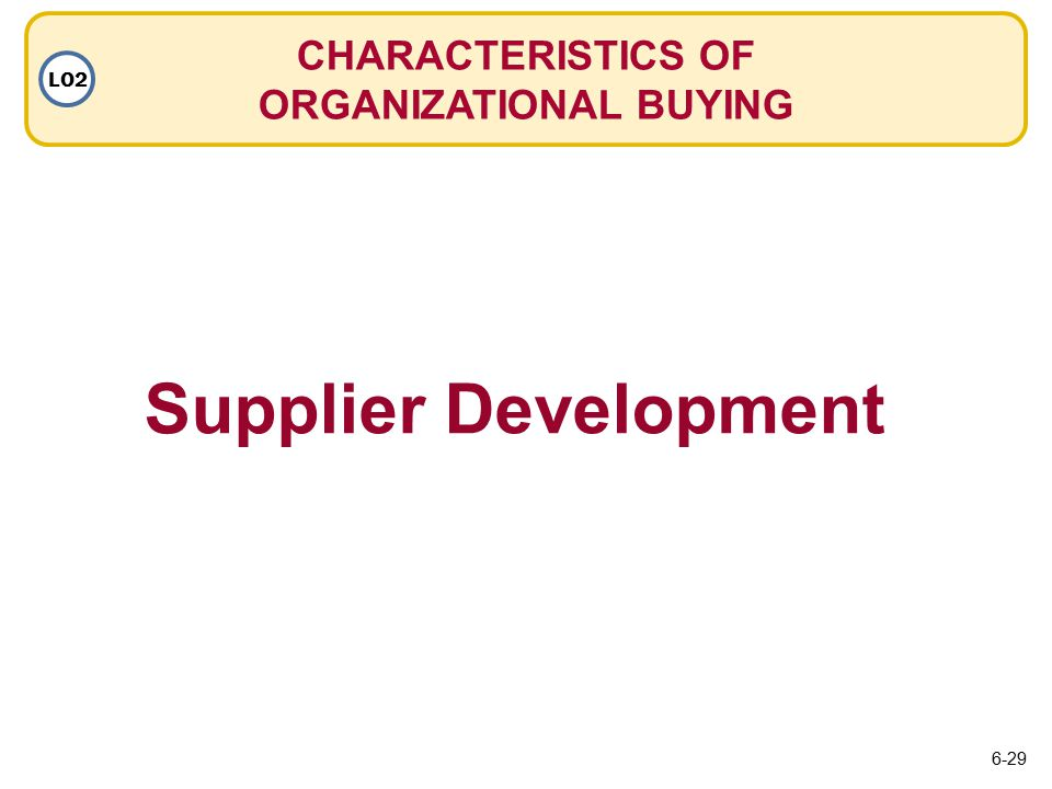 CHARACTERISTICS OF ORGANIZATIONAL BUYING LO2 Supplier Development 6-29