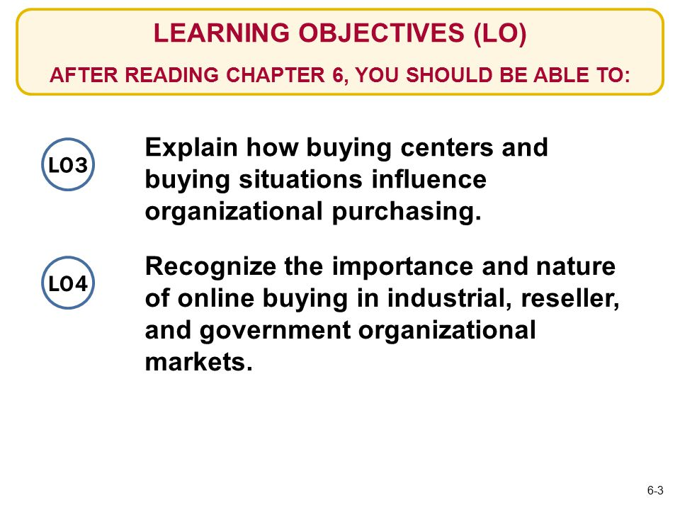 LO3 LEARNING OBJECTIVES (LO) AFTER READING CHAPTER 6, YOU SHOULD BE ABLE TO: Explain how buying centers and buying situations influence organizational purchasing.