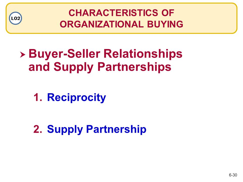  Buyer-Seller Relationships and Supply Partnerships Buyer-Seller Relationships and Supply Partnerships CHARACTERISTICS OF ORGANIZATIONAL BUYING LO2 1.ReciprocityReciprocity 2.Supply PartnershipSupply Partnership 6-30
