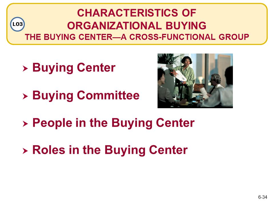 CHARACTERISTICS OF ORGANIZATIONAL BUYING THE BUYING CENTER—A CROSS-FUNCTIONAL GROUP LO3  Buying Center Buying Center  Buying Committee Buying Committee  People in the Buying Center People in the Buying Center  Roles in the Buying Center Roles in the Buying Center 6-34