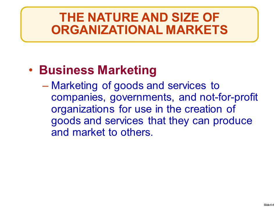 THE NATURE AND SIZE OF ORGANIZATIONAL MARKETS Slide 6-6 Business Marketing –Marketing of goods and services to companies, governments, and not-for-profit organizations for use in the creation of goods and services that they can produce and market to others.Marketing of goods and services to companies, governments, and not-for-profit organizations for use in the creation of goods and services that they can produce and market to others.