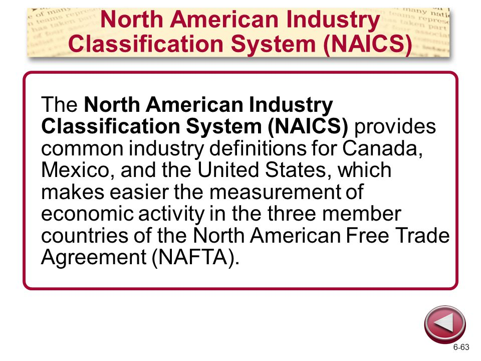 North American Industry Classification System (NAICS) The North American Industry Classification System (NAICS) provides common industry definitions for Canada, Mexico, and the United States, which makes easier the measurement of economic activity in the three member countries of the North American Free Trade Agreement (NAFTA).