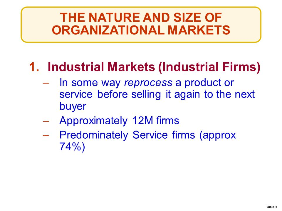 THE NATURE AND SIZE OF ORGANIZATIONAL MARKETS Slide 6-6 1.Industrial Markets (Industrial Firms)Industrial Markets (Industrial Firms) –In some way reprocess a product or service before selling it again to the next buyerIn some way reprocess a product or service before selling it again to the next buyer –Approximately 12M firmsApproximately 12M firms –Predominately Service firms (approx 74%)Predominately Service firms (approx 74%)