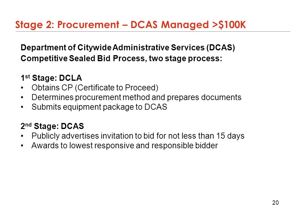 20 Stage 2: Procurement – DCAS Managed >$100K Department of Citywide Administrative Services (DCAS) Competitive Sealed Bid Process, two stage process: