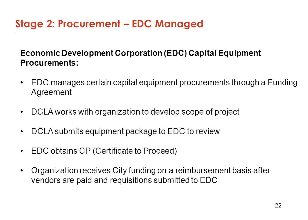 22 Stage 2: Procurement – EDC Managed Economic Development Corporation (EDC) Capital Equipment Procurements: EDC manages certain capital equipment pro