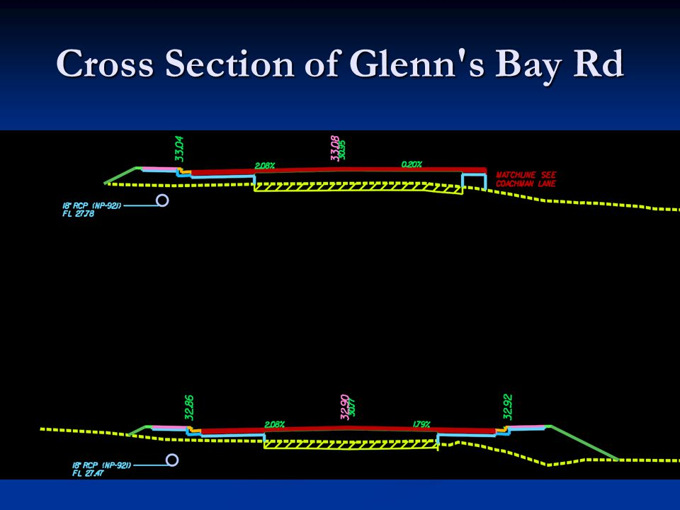 Cross Section of Glenn s Bay Rd