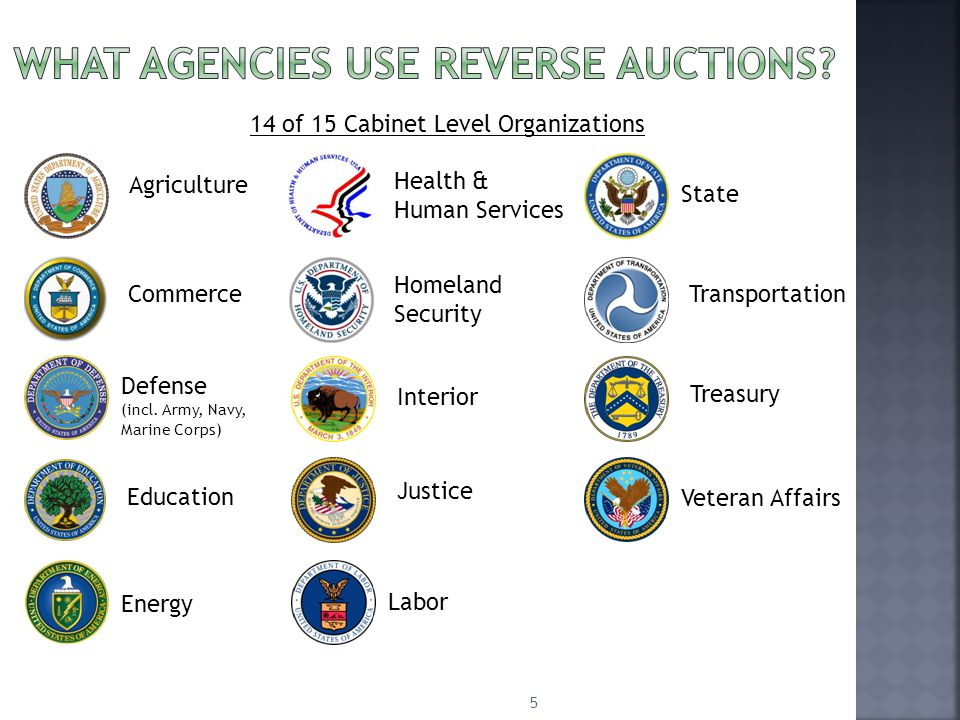 5 14 of 15 Cabinet Level Organizations State Defense (incl.