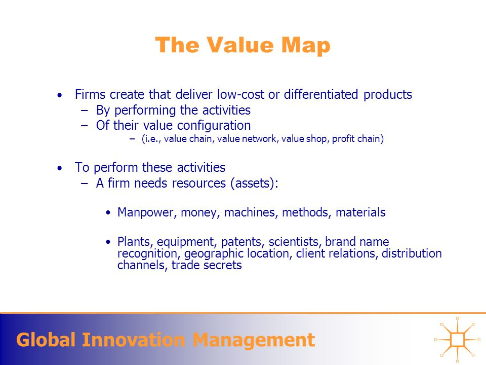Global Innovation Management The Value Map Firms create that deliver low-cost or differentiated products –By performing the activities –Of their value