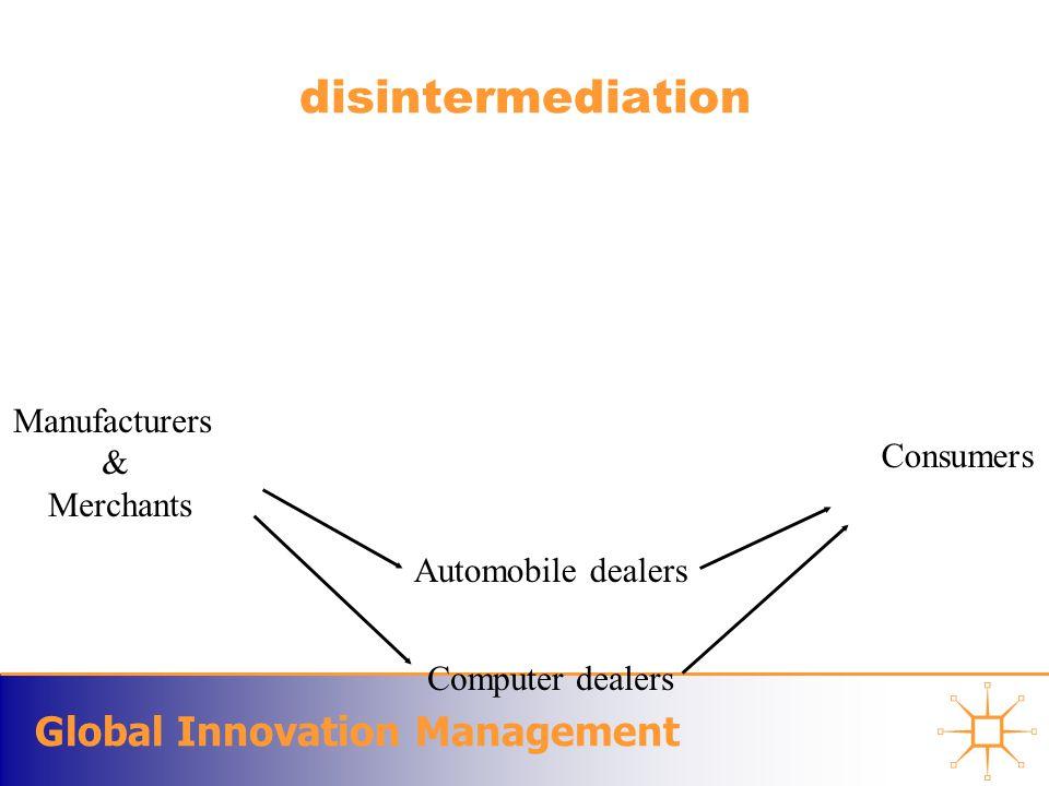 Global Innovation Management disintermediation Computer dealers Automobile dealers Manufacturers & Merchants Consumers