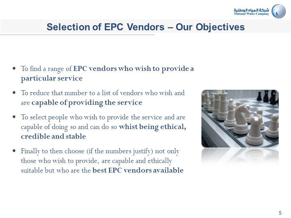 5 To find a range of EPC vendors who wish to provide a particular service To reduce that number to a list of vendors who wish and are capable of providing the service To select people who wish to provide the service and are capable of doing so and can do so whist being ethical, credible and stable Finally to then choose (if the numbers justify) not only those who wish to provide, are capable and ethically suitable but who are the best EPC vendors available Selection of EPC Vendors – Our Objectives