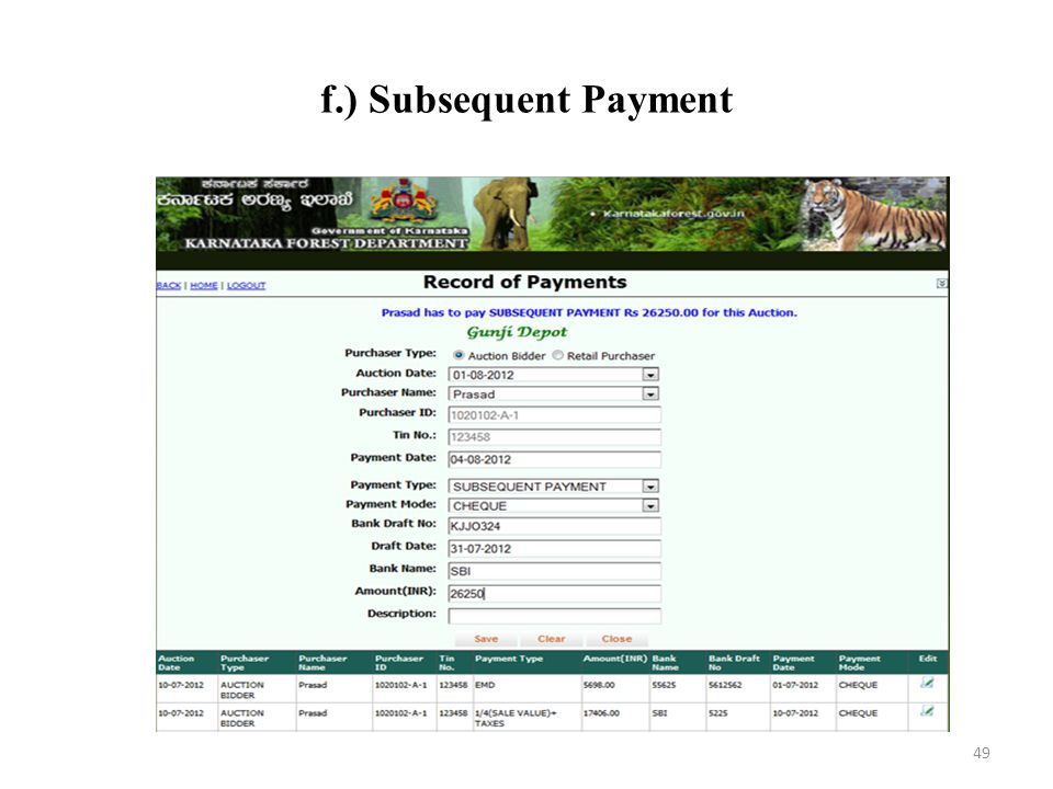 f.) Subsequent Payment 49