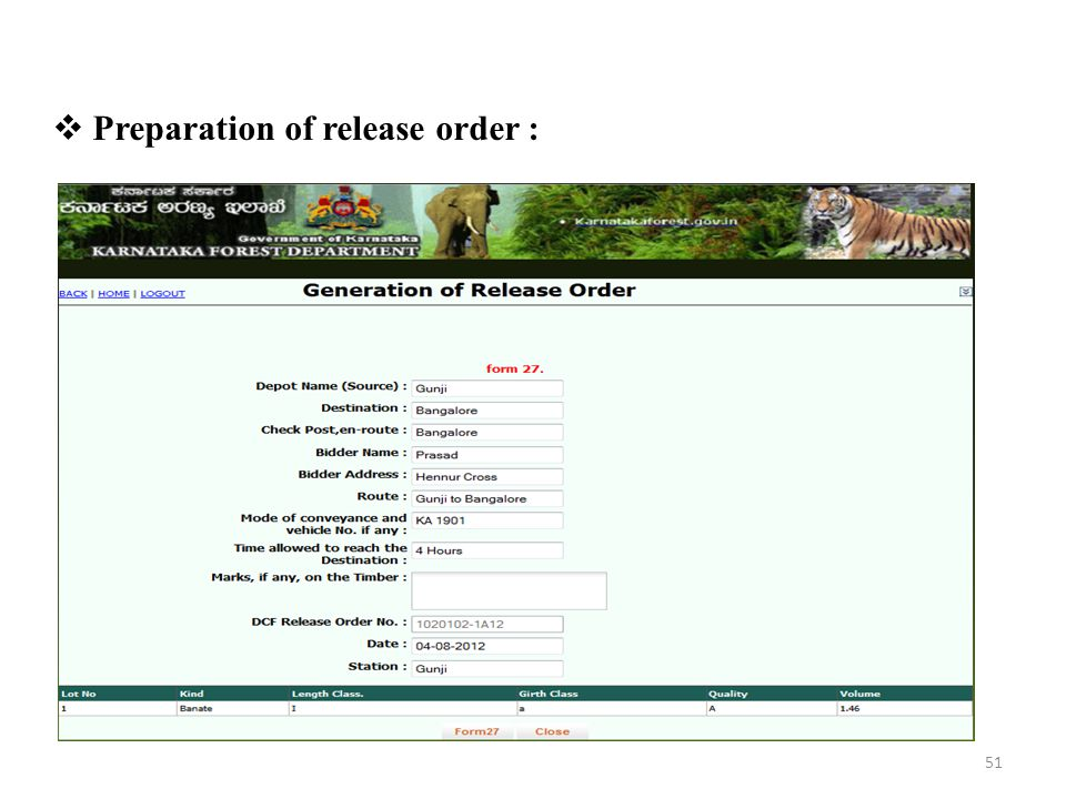  Preparation of release order : 51