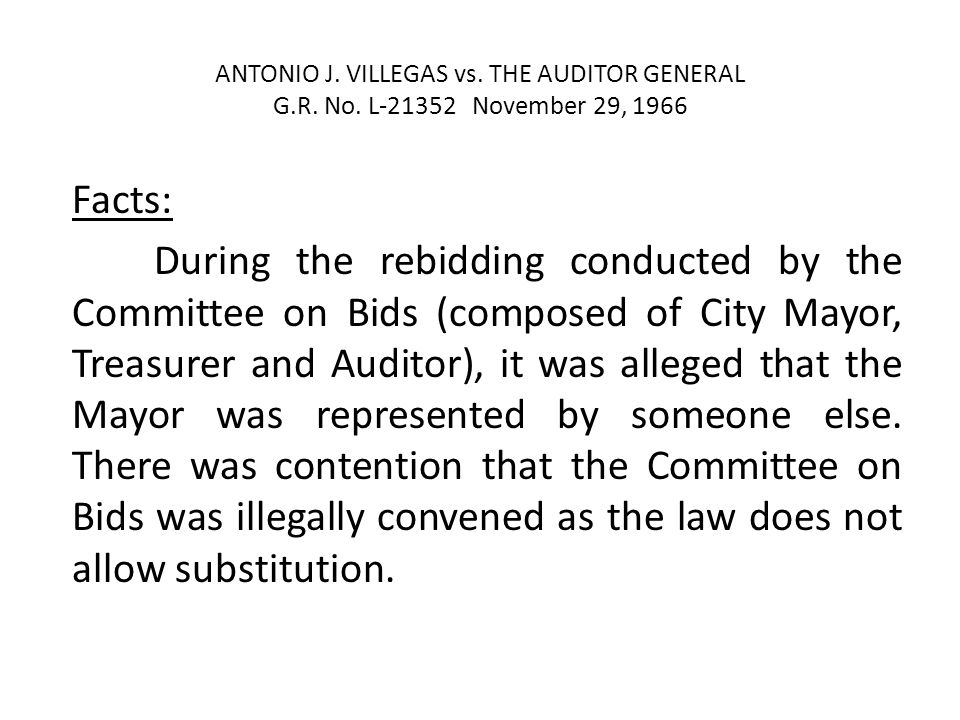ANTONIO J.VILLEGAS vs. THE AUDITOR GENERAL G.R. No.