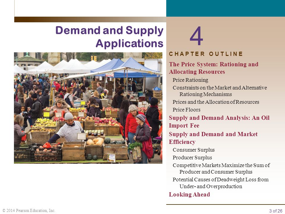 3 of 26 © 2014 Pearson Education, Inc. 4 Demand and Supply Applications C H A P T E R O U T L I N E The Price System: Rationing and Allocating Resourc