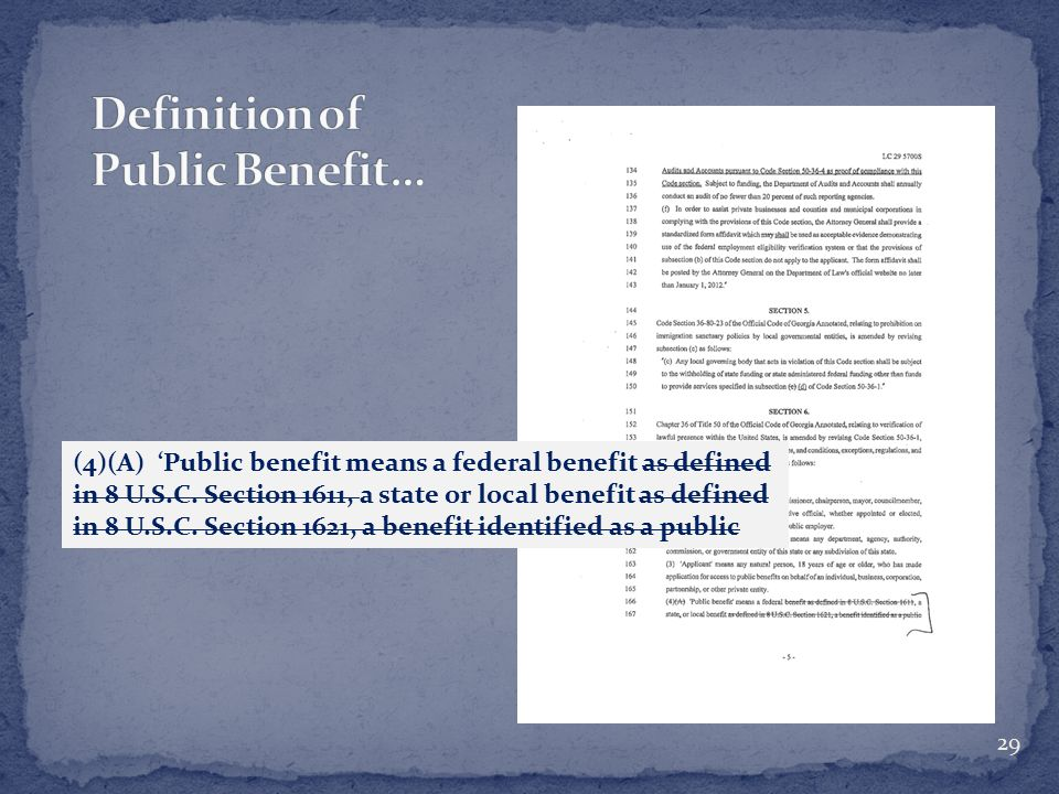 (4)(A) 'Public benefit means a federal benefit as defined in 8 U.S.C.