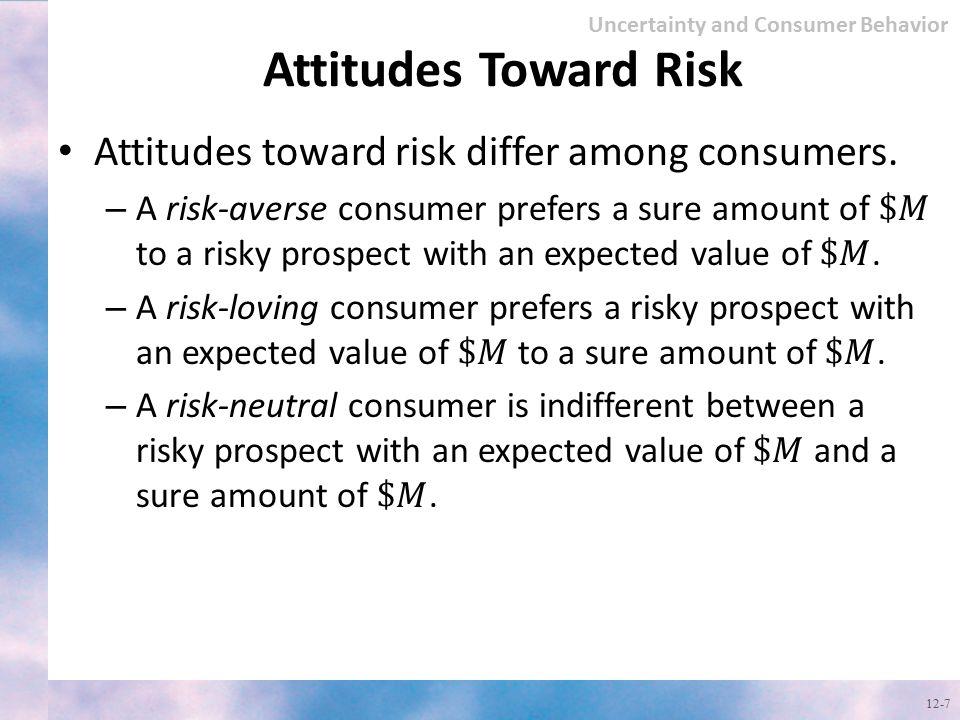 Attitudes Toward Risk 12-7 Uncertainty and Consumer Behavior