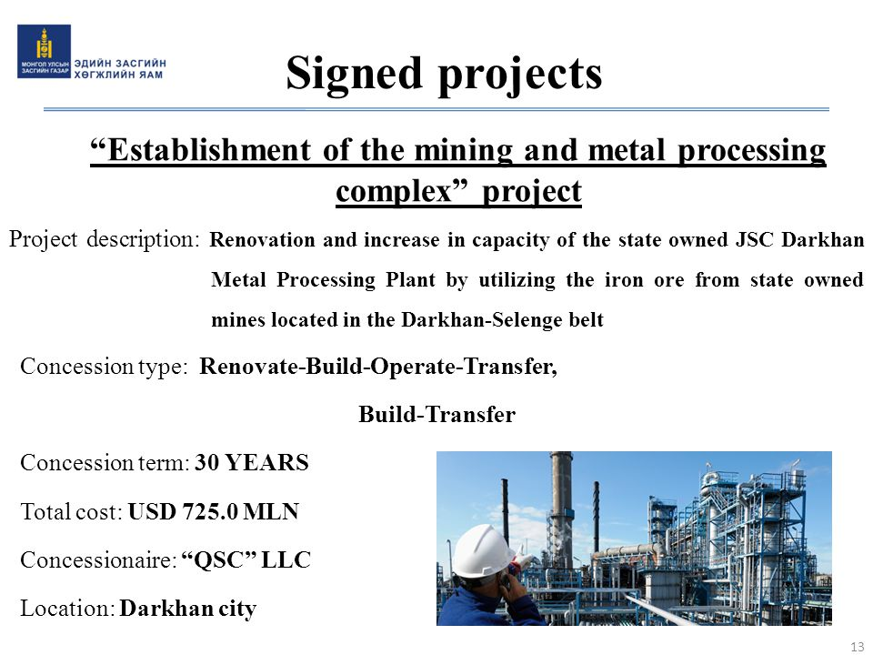 """Establishment of the mining and metal processing complex"" project Project description: Renovation and increase in capacity of the state owned JSC Dar"