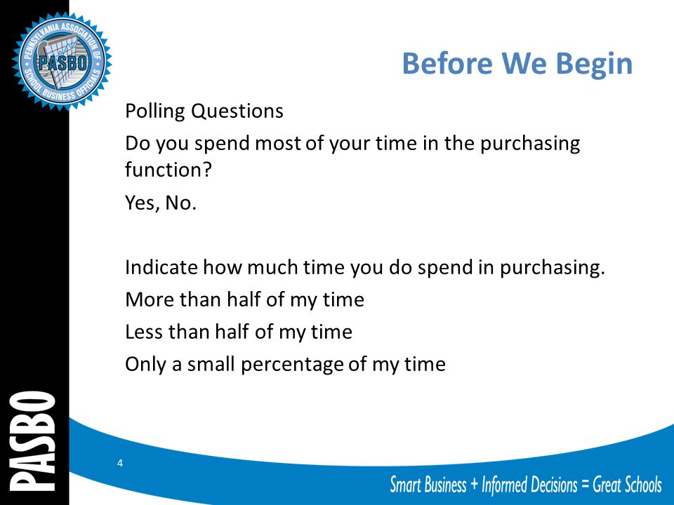 Before We Begin Polling Questions Do you spend most of your time in the purchasing function? Yes, No. Indicate how much time you do spend in purchasin