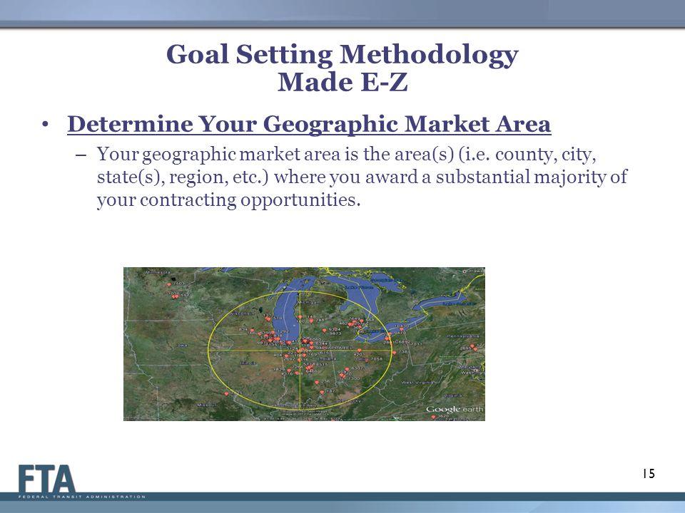 Goal Setting Methodology Made E-Z Determine Your Geographic Market Area – Your geographic market area is the area(s) (i.e.