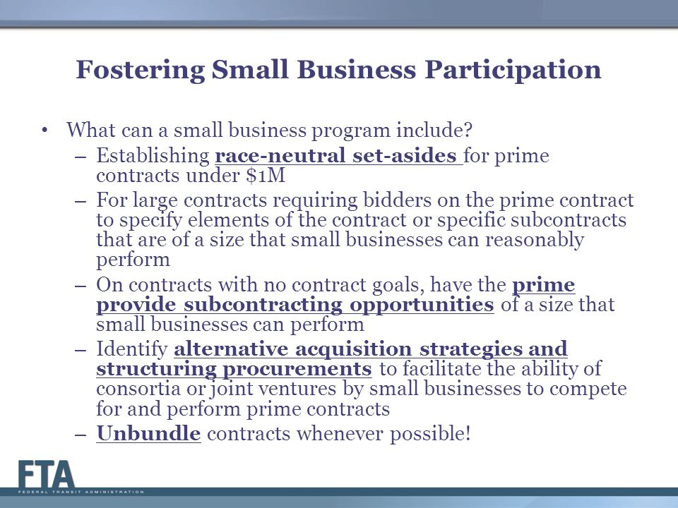 Fostering Small Business Participation What can a small business program include.